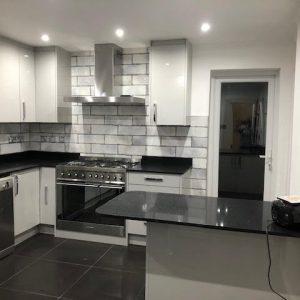modern kitchen large tiles