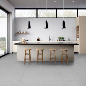 summer light grey tile on kitchen floor
