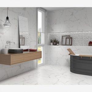 Palmira Bianco ceramic white gloss tile on a bathroom wall