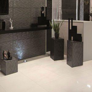 Smart Lux white porcelain tile on the floor of a bathroom