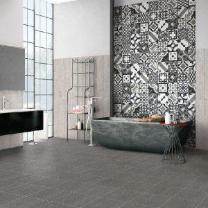 Signature Dark Grey Matt tile on the floor of a bathroom
