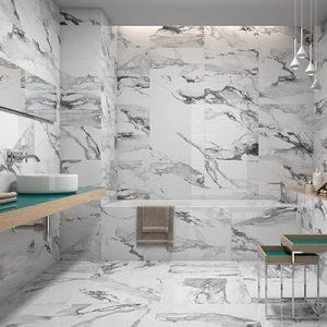 Crash Blanco tile on walls and floors of bathroom