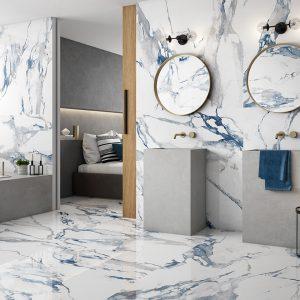 Crash Blue Porcelain Tile on floor and walls of a bathroom