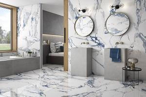 Crash Blue tile on the walls and floors of bathroom